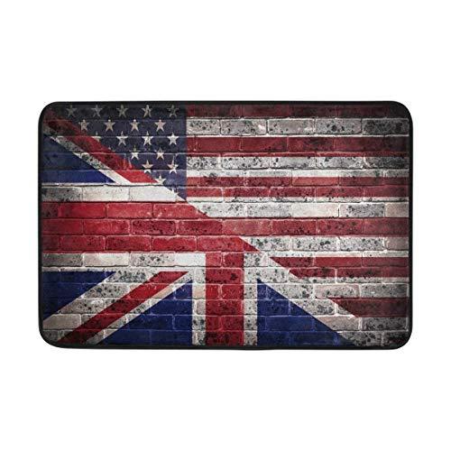Fußmatte mit Amerikanische-Flagge-Britische-Flagge-Motiv, für drinnen und draußen, Unterlegematte, Badezimmer, 60x 40cm (Baumwoll-teppich Britische)