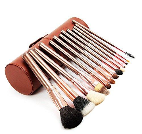 VALUE MAKERS 13pcs Pinceaux de Maquillage - Maquillage Brush Set - Kit pinceaux de maquillage - Maquillage Brush Set - Maquillage Pinceaux - Pinceau fond de teint - pinceaux de maquillage Kit - Chèvre Brosses à cheveux Set - Brush Set avec vérin Pinceaux Case (Brown)