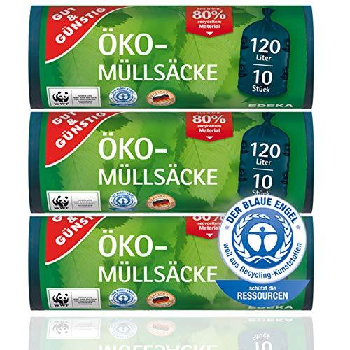 Öko Müllsäcke - Extra Reißfest & Flüssigkeitsdicht - 120 Liter - 3er Pack (3 x 10 Stück)