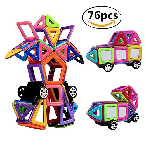 StillCool Bausteine Magnetische 76 PCS Magnetische Bauklötze DIY 3D Lernspielzeug für Baby,Kleinkinder Geschenk für Kinder Kleinkind ab 3 Jahre (bunt)