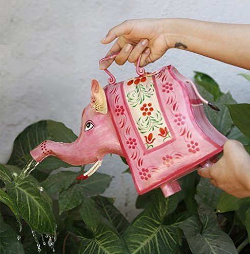 Store Indya, Dekorative Nicht rustikal Eisen Gießkannen Topf mit Griff fur Outdoor Indoor Home Gardening Dekor Zubehör (Rosa Elefant) (Kinder-gießkanne Krug)