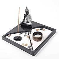 Tablero Buddha Shakyamuni Estatua Jardín Zen con Sand Roca Portavelas Porta-inciensos