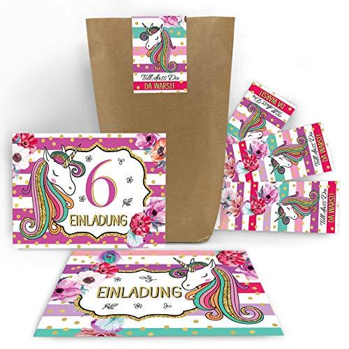 Junaversum 12 Einladungskarten zum 6. Kindergeburtstag Mädchen Einhorn Unicorn Einladungen zum sechsten Geburtstag incl. 12 Umschläge, 12 Tüten / Natur, 12 Aufkleber