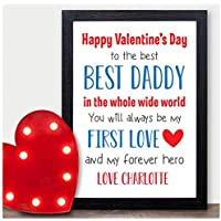 Happy Valentines Day Personalised Gifts for Daddy - Unique Custom Valentines Presents from New Baby Boy or Girl, Son or Daughter for Daddy, Dad, Father - Daddy Valentines Day Keepsakes from Child