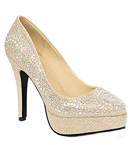 Aisun Damen Sexy High Heels Glitzer Pointed Toe Plateau Pumps Gold