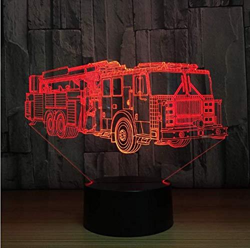 Visuelle Licht 3D Feuerwehrauto Tischlampe 7 Farben Ändern Feuerwehrauto Lange Auto Nachtlicht Usb Schlaf Leuchte Schlafzimmer Dekor Kinder Geschenk