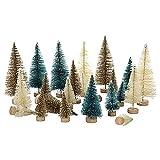 lulalula Mini-Sisal Schnee Frost Bäume Flaschenbürste Bäume Mini Weihnachtsbaum Kiefer Baum mit Holzsockel für DIY Raumdekoration Home Tischdekoration