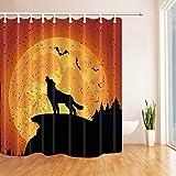 Nyngei Halloween Wolf heult Duschvorhang Badezimmer Dekor wasserdichtes Gewebe & 12Hooks 183X183CM