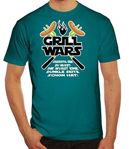 Grillen Grill Garten Party Herren Männer T-Shirt Rundhals Grill Wars - Die Wurst Eine Dunkle Seite Schon Hat, Größe: XL,Diva -