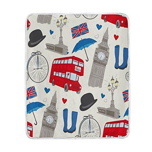 Use7 Home Decor London Big Ben Union Jack Love Heart Bus Manta...