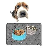 Pawaca Silikon Futtermatten Tiernahrung Matte für Hund Katze, Wasserdicht Rutschfest Napfunterlage Platzdeckchen, 47 x 30cm