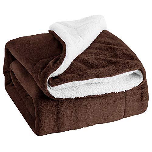 Couvre-lit de Voyage en Polaire Sherpa Chaud réversible pour lit, canapé et canapé, A3, 160 x 130 cm