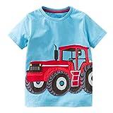 Trada Kleinkind Kinder Baby Jungen Mädchen Kleidung Kurzarm Tops T-Shirt Bluse Babykleidung für Jungen Kurzarm Hemd Bluse T-shirt Tops Baby Strandmode Sommer Auto Gemustert Outfits Kleidung (110, Blau)