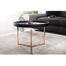 DuNord Design Couchtisch Beistelltisch TRITON 60cm Schwarz Kupfer Retro Tablett Tisch