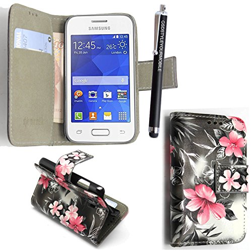 GSDSTYLEYOURMOBILE {TM} Samsung Galaxy Ace Style SM-G310 PU LEDER LEATHER FLIP CASE COVER HÜLLE ETUI TASCHE SCHALE + STYLUS (Pink Flower Dark Grey Book)
