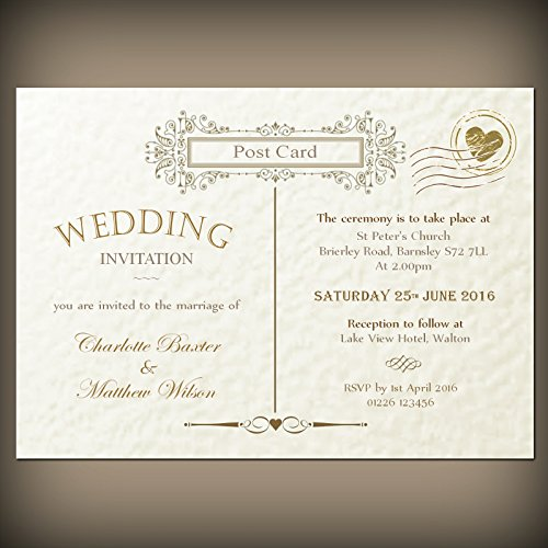 50 Personalised Wedding Invitations Envelopes Vintage Victorian Post Card Design Ivory Hammered Texture