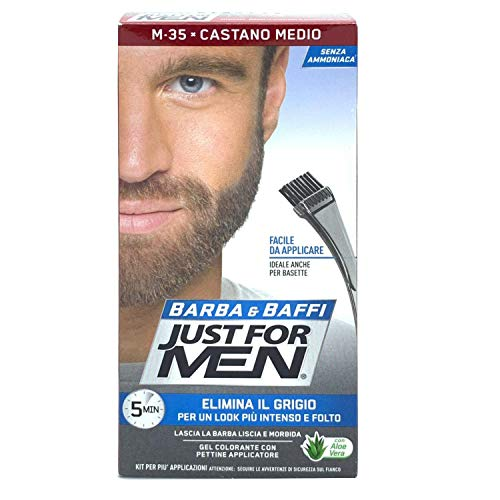 Scopri offerta per JUST FOR MEN BARBA E BAFFI COLORE PERMANENTE CON PENNELLO SENZA AMMONIACA CASTANO MEDIO M-35 2X 14 ML
