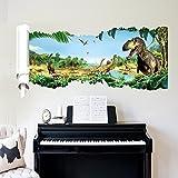 Grandora Wandtattoo aufgerissene Wand Dinosaurier I (BxH) 90 x 46 cm I T-Rex Wohnzimmer Kinderzimmer Junge Wandaufkleber Wandsticker Aufkleber Sticker Jungs W5306