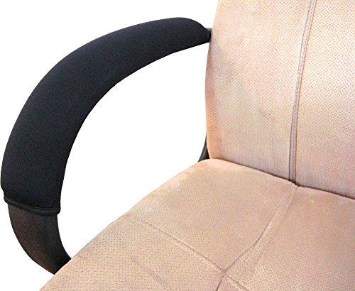 Vimmor Verstellbarer Weicher Komfortabler Samt Stuhl Armlehnenbezüge Armlehnenpolster Armauflage Pads für Zuhause, Büro, schwarze Farbe, 2 Stück