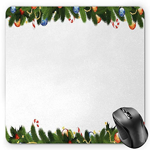 HYYCLS New Year Mauspads, Fir Tree Branches with Christmas Theme Candy Canes Baubles Festive Winter Holiday, Standard Size Rectangle Non-Slip Rubber Mousepad, Multicolor