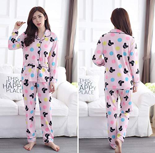 GHFDSJHSD Damen Pyjama Set Damen Lange Ärmel Hose große Größe Baumwolle Lace Cardigan Button 5XL Herbst Winter Nachtwäsche als Geschenk, XL /120-140 kg / -