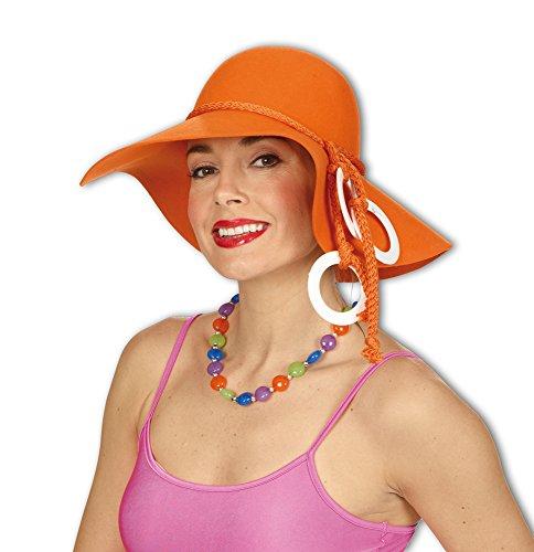 Damen Flapper Hut im 70er Jahre Look - Orange - Zum Retro Kostüm -