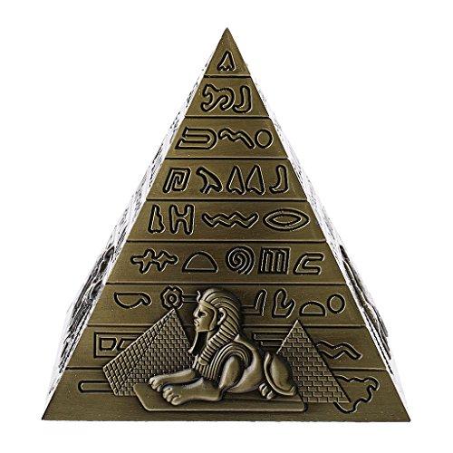 Haus Statue (Gazechimp Metall Ägyptische Pyramide Modell Figur Statue für Haus Büro Deko - Bronze)