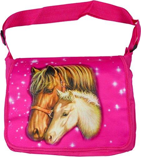 Damen Handtasche Pink Mädchen Schulter-Taschen Pferd Motiv - Pferde Schulter Tasche