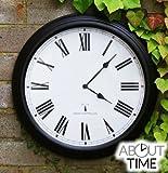 About Time Funkuhr für den Außenbereich, Schwarz, 38cm