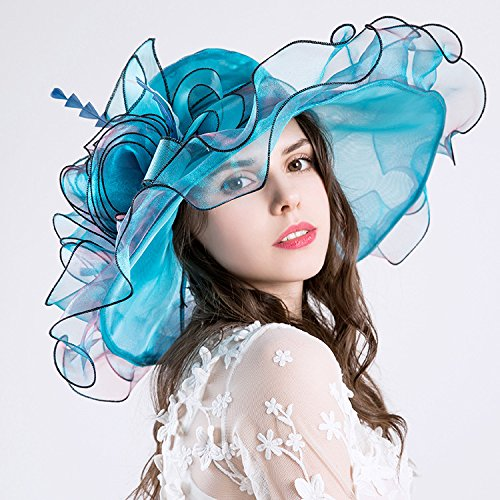RAN European and American Women's Hats Organza Gauze Hats UV50+Big Brim Visor Cap
