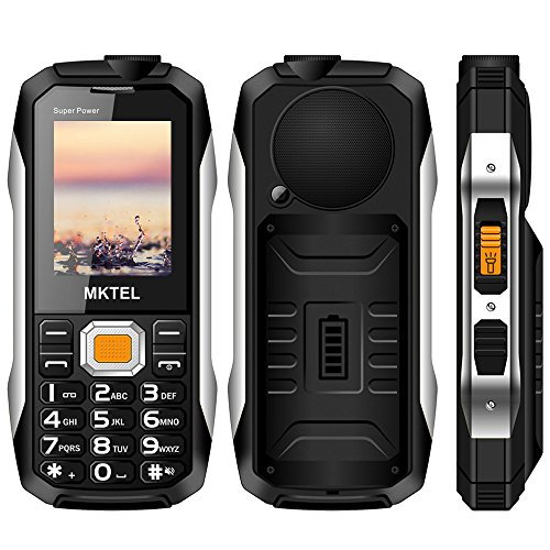 2018 MKTEL Outdoor Mobile Big Button GSM Phone,2.4 inch Large speakerRugged Cell phone For elderly.(2G Dual Sim,Big Buttons,Powerbank,Long Standby,LED Flashlight,58 Hours Talk Time) - Black