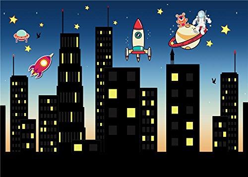 Daniu Digitaler Hintergrund Vinyl Super City Foto Studio Requisiten Stars Fotografie Backdrops 7x5FT 210cm x 150cm Daniu-sc005