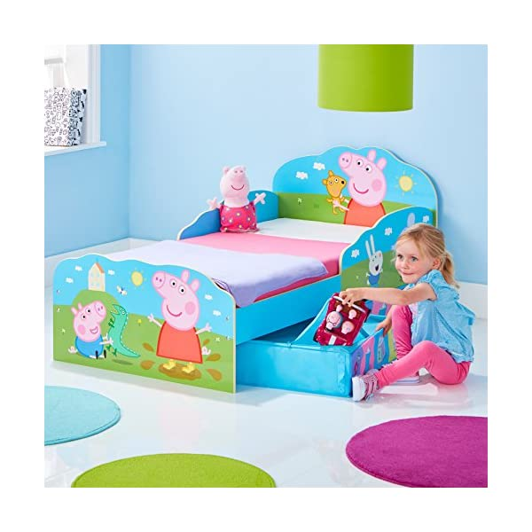HelloHome Peppa Pig Toddler Bed with Underbed Storage, Wood, Multi, 142 x 77 x 63 cm  Perfect for transitioning your little one from cot to first big bed The perfect size for toddlers, low to the ground with protective side guards to keep your little one safe and snug Two handy underbed, fabric storage drawers 2