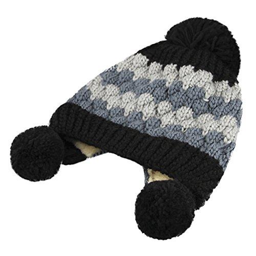 Bonnet Enfant Fille Hiver Bonnet Enfant Garçon Stylé Bonnet Femme Hiver Fantaisie Tricoté Manuel Tricotage Unisexe pour Hiver ou Printemps Cadeau pour Noël Noir/Blanc/Gris Gris 1