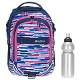 2 Teile Set Bestway Schulrucksack Packer Rucksack Schultasche 40177 + Trinkflasche (Pink Blue (pink) 0622)