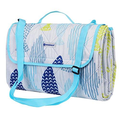 SONGMICS Waschbare Picknickdecke für Outdoor,faltbar zu Tasche mit Schultergurt,leichte Campingdecke,ideal für Reise,wärmeisoliert 195 x 150 cm GCM80UW