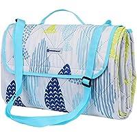 SONGMICS Manta de picnic para el uso al aire libre Lavable con Dibujo Plegable con Correa de hombro Para niños Manta de camping Resistente a la humedad Ligera Resistente al calor GCM80UW