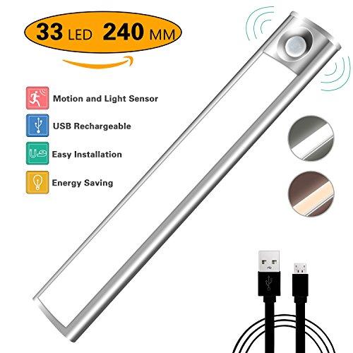 Luz Nocturna, Hnlife Led Armario con Sensor de Movimiento Recargable 33 LED 4 Modos con Cinta Adhesiva Magnética para Armario, Pasillo, Estantería, Escalera