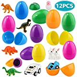 Epoch Air Easter Eggs 12PCS Filler Eggs with 3 Small Dinosaur Sets 5 Mini Pull Back Cars 2 Stamps 3 Animal Toys Presents for Kids Boys Girls Surprise Egg Gifts for Easter Hunt Party Favors Decoration