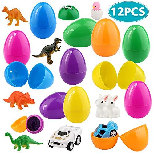 Baztoy Ostereier Deko, 12 Ostern Dekoration Eier Befüllen Kunststoff mit Dinosaurier Figuren & Mini Auto & Stempel & Tier Spielzeug für Kinder Junge Mädchen Party Favors überraschung Ostern Geschenk