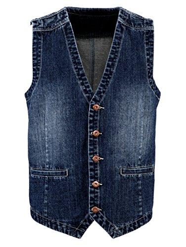 BABISTA Herren Jeansweste im used-Look - gewollte Waschungen - Baumwolle 5 Knöpfe (5-knopf-weste)