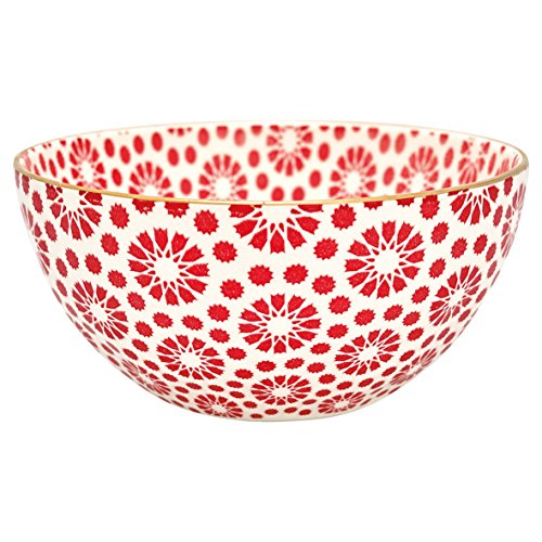Greengate STWBOWWMKEL1006 Kelly Bowl Red with Gold Medium 15,5 cm