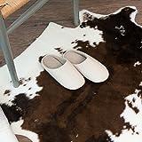Rugmall Rinderfell Teppich Fellteppich Kunstfell Imitat, Tierfell für Wohnzimmer, Farbe: Braun - Ivory, Größe: 80 x 100 cm