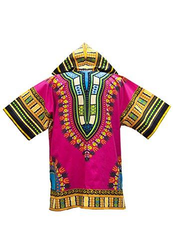 Lofbaz Unisex Dashiki Traditionelles Oberteil mit afrikanischem Druck Design #1 Rosa