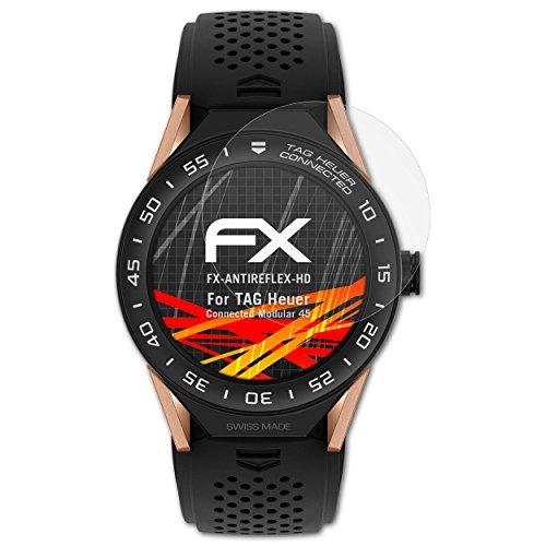 atFoliX Schutzfolie kompatibel mit Tag Heuer Connected Modular 45 Bildschirmschutzfolie, HD-Entspiegelung FX Folie (3X)