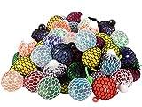 Alsino Glitzer Quetschball Squeeze Mesh Ball Anti Stress Quetschbälle im Netz für Kinder und Erwachsene, Menge :6 Stück Mesh Squishy Ball