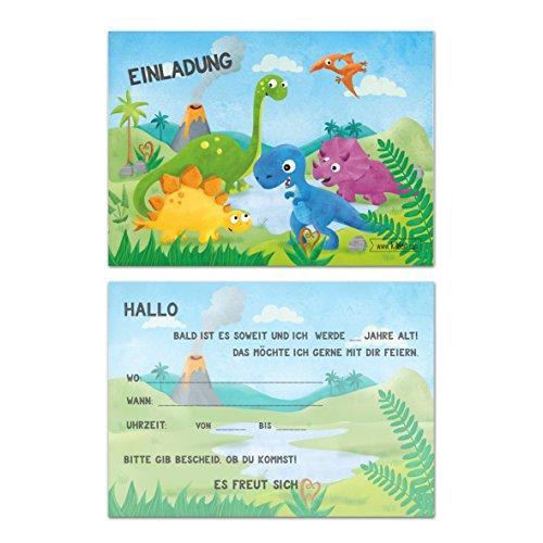 (Kindergeburtstag Dinosaurier Jungen Geburtstag Einladung Dino Einladungskarten Geburtstagseinladung Kinder Urzeit mit T-Rex, Triceratops, Flugsaurier - Set zu 10 Stück)