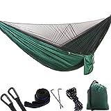Kit amaca con zanzariera, ultraleggero portatile antivento, doppia amaca singola letto per amaca con rete per campeggio all'aperto, escursionismo, zaino in spalla, viaggio, 290 * 140cm,Dark-Green