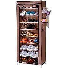 10 Tier 9 Grid Organizador de tela de zapatos, Tela, Zapatero estructura de acero,hasta 27 pares de zapatos, libre de polvo,160cm x 60cm x 30cm,Marrón claro