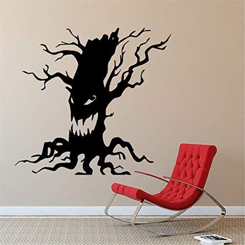 JXTK Spooky Tree Halloween Vinyl Kunst Aufkleber Scary Ghost Face Lustige Wohnkultur Wandaufkleber Wohnkultur Wohnzimmer Schaufenster 60x57 cm